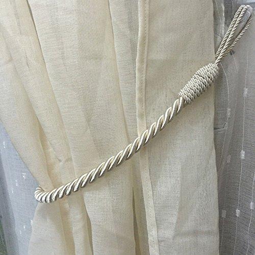Mald 2 Stück Vorhang Gardinen Raffhalter Anhänger Vorhang Seil Vorhanghalter Zugband Holdback Baumwoll(Beige)