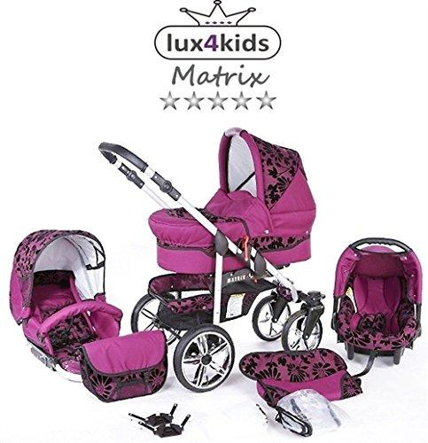 Chilly Kids Matrix II Kinderwagen Sommer-Set (Sonnenschirm, Autositz, Regenschutz, Moskitonetz, Schwenkräder) 54 Lila Geflockte Blumen