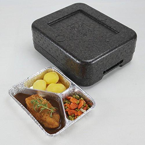 PIT1 Thermobox Styropor anthrazit Transportbehälter MENÜBOX für 1 Menü * Catering