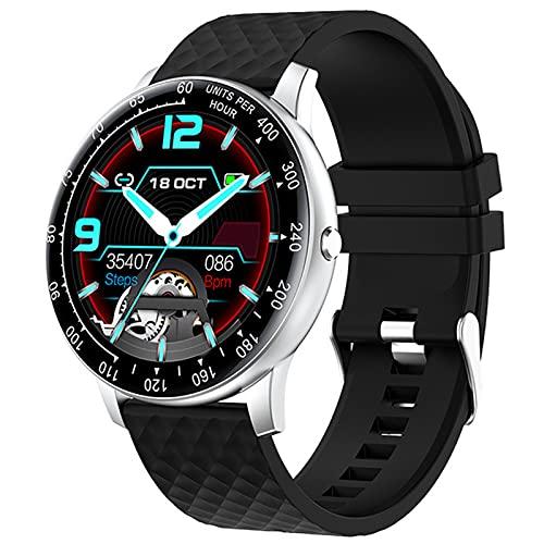 APCHY Smart Watch,Rastreador De Fitness De 1.3 Pulgadas con Monitoreo Fisiológico Femenino Monitor De Oxígeno De Presión Arterial De Frecuencia Arterial, Sin Cronómetro,Plata