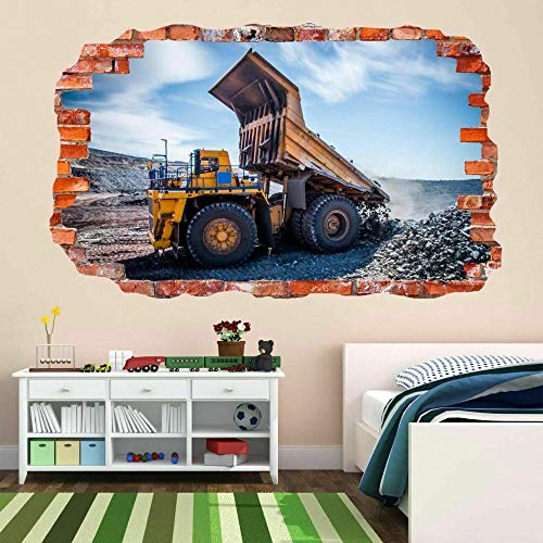 Pegatinas de pared Mining Haul Camion À Benne 3D Sticker Mural Autocollant Mural Chambre D'enfants Décor Pegatinas decorativas 80 * 120cm