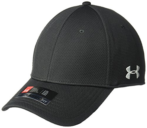 Under Armour Men's Curved Brim Stretch Fit Hat, Black (001)/White, Large/X-Large