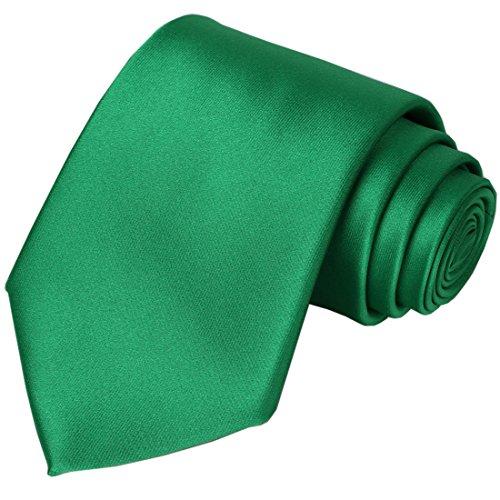 KissTies Emerald Green Tie Solid Satin Ties Mens Necktie St. Patricks Day