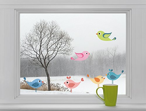 6 vogels - raamsticker sticker sticker raamafbeelding F024