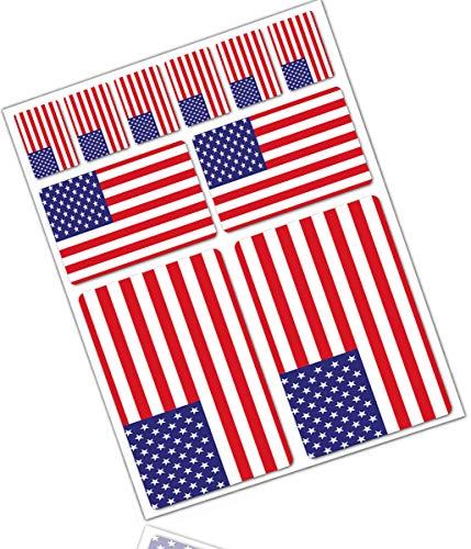 Biomar Labs® 10pcs Pegatina Bandera de USA America Estados Unidos American Flag...