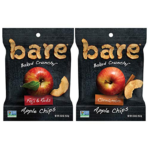 Bare Natural Apple Chips, Snack Size Variety Pack, Gluten Free + Baked, 0.53 Oz (24 Count)
