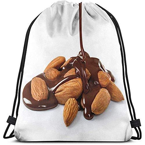 BOUIA Trekkoord Rugzak Tassen Sport Gym Cinch Tas, Close Up Fotografie Van Chocolade Saus Gegoten Op Een stapel Amandelen Print