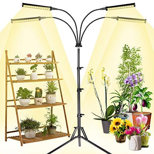 MICCYE LED Pflanzenlampe Vollspektrum mit Ständer, 4 Heads Pflanzenlicht 96W 192 LEDs Grow Lampe 360°Einstellbar mit Adapter, Zeitschaltuhr 3/6/12H, 4 Modus, Vollspektrum Pflanzenleuchte 0-100% Dimmen