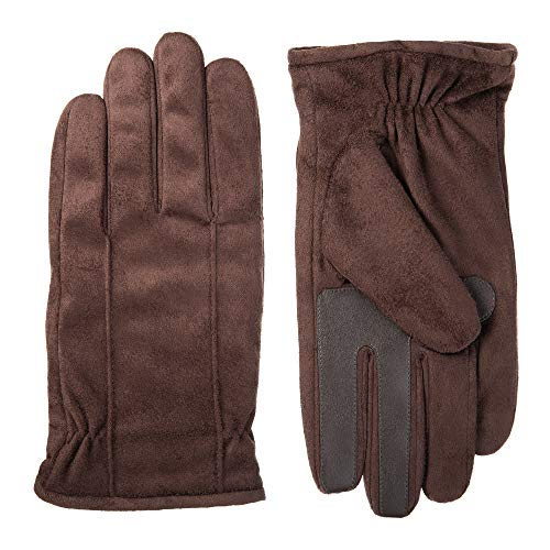 isotoner Stretch Leather Men's Gloves, Touchscreen Technology, Dual Lining, Brown, MD