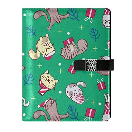 Cuaderno de cuero diario diario cuaderno de viaje colorido divertido Navidad rellenable A5 papel relleno interior carpeta de anillo – Cuaderno de tapa dura regalo para hombres y mujeres