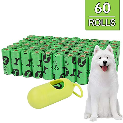 PJDDP Hundepoop Taschen, Kotbeutel, 60 Rollen / 900 Taschen Mit Dispenser, Garantiert Dicht, Duftend Hund Taschen, Extra Dick, Umweltfreundlich Biologisch Abbaubar, Maßnahmen 8 X 13 Zoll,Grün