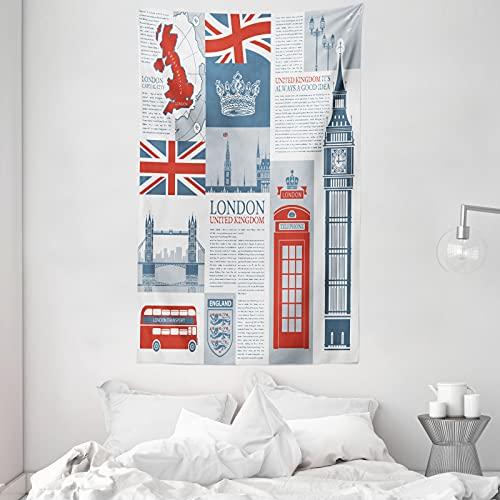 ABAKUHAUS Handyzelle Wandteppich & Tagesdecke, London, Vereinigtes Königreich, aus Weiches Mikrofaser Stoff Dreck abweichender Digitaldruck, 140 x 230 cm, Schiefer-Blau Vermilion