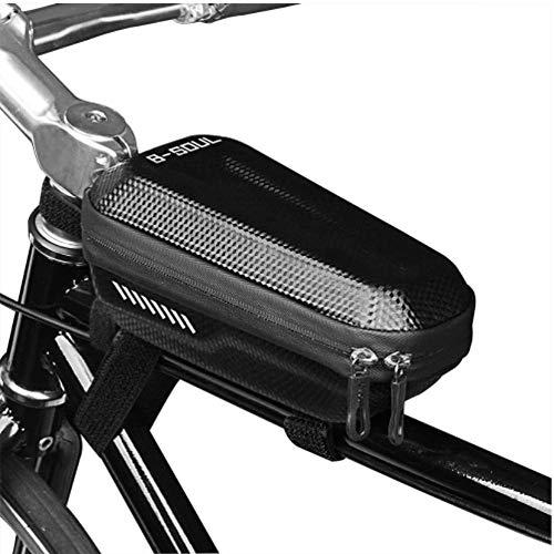 Marco de la bolsa de haz cuadro de la bicicleta bolso de la bicicleta superior del bolso del tubo del camino de MTB Ciclismo a prueba de lluvia frontal for bicicleta bolsa del bolso del teléfono Negro