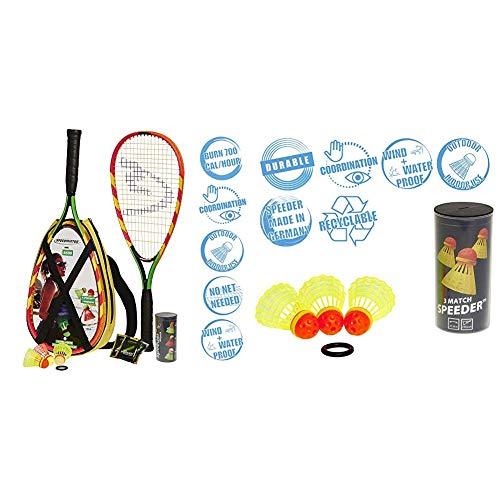 Speedminton S600 Set, Gr&uumln/Gelb/rosa, One Size & Speedminton® Match Speeder® - 3er Pack Speed Badminton/Crossminton original Wettkampfball inkl. Windring