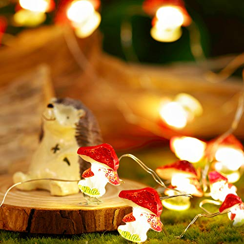 Mushroom String Lights, 10ft 30 LEDs String Lights, 8 Modes with Remote and Timer Control Function, Princess Fairy Lights for Girls Bedroom Nursery Party Patio Fence Plants Decor
