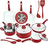 Ivation Ceramic Cookware | 16-Piece Nonstick Cookware Set with Induction Base, SoftGrip Handles &...