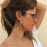 Bohend Moda Diamante de imitación Cadena de gafas Oro Estrella Cadena de máscara facial Mujeres Cadena de gafas de sol Accesorios Para vidrio y mascarillas faciales (2 piezas)