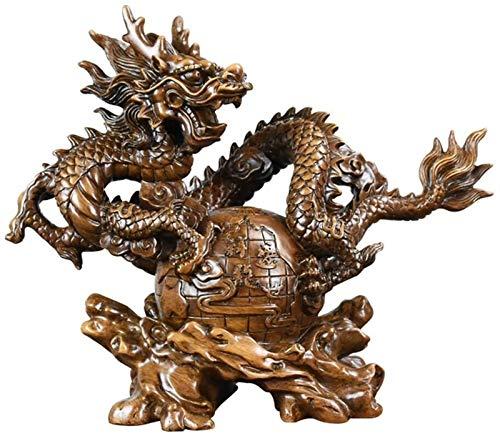 FLYAND Accesorios Decorativos Adornos Chino Zodiaco Dragón Resina Estatuillas coleccionables Decoración de Mesa Estatua Feng Shui Dragon Craft Decoración Feng Shui Decoración (Tamaño: S)