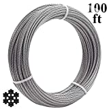 Favordrory 1/8 Inch T316 Marin Grade Stainless Steel Aircraft Wire Rope Cable for Railing, Decking, DIY Balustrade, 7x7 Construction, 100 Feet