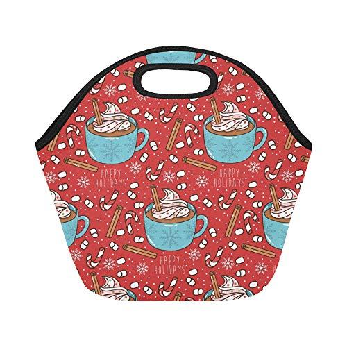 Bolsa de almuerzo de neopreno con aislamiento Vacaciones de invierno lindas Tartas Copias Bolsas de asas para almuerzos gruesos, térmicos, de gran tamaño, reutilizables, calientes, para fiambreras