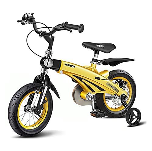 Bicicletta da Bambino Regolabile da 12 Pollici/da 16 Pollici con Ruote di Allenamento e Doppio Freni, Adatto per Bambini di età Compresa tra 3-6 Anni (Color : Yellow, Size : 16inch)