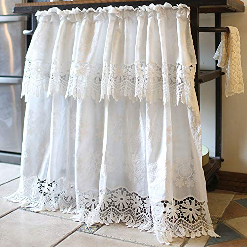 """vctops Bohemian Floral Embroidered Cotton Cafe Tier Curtain with Attached Valance Country Style Lace Half Window Curtain Kitchen Curtains (59""""x49"""",White)"""