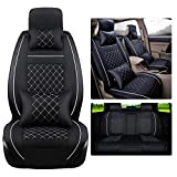 Super PDR Car Seat Cover, 13 PCS Universal 5 Seat Full Leather Car Seat Cushion with Headrest, All seat Cushions Including Front and Rear Seats(Black &White)