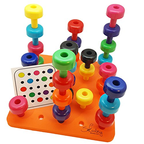 Skoolzy Peg Board Toddler Learning Toys -Fine Motor Skills Montessori Toys for Toddlers - 32 pc Stacking Occupational Therapy Games for Kids - 9 Color Sorting Boys and Girls Toys. Age 2+ (Toys For 4 Year Old With Down Syndrome)