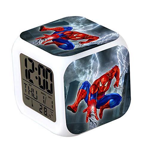 CLXYA Spiderman Sveglie Colorato Personaggio dei Cartoni Animati LED Sveglie Viaggio 3D Sveglie- Regalo per Bambini,001