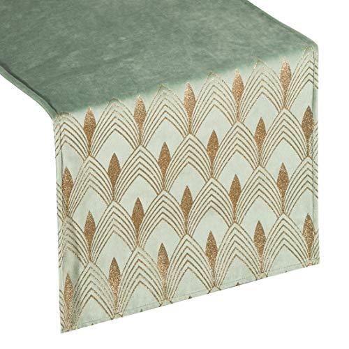 Eurofirany tafelkleed, tafelloper, fluweel, geometrisch patroon, tafeldecoratie, tafelkleed, tafelkleed, fluweel, elegant, 1 stuks, munt, 40 x 140 cm