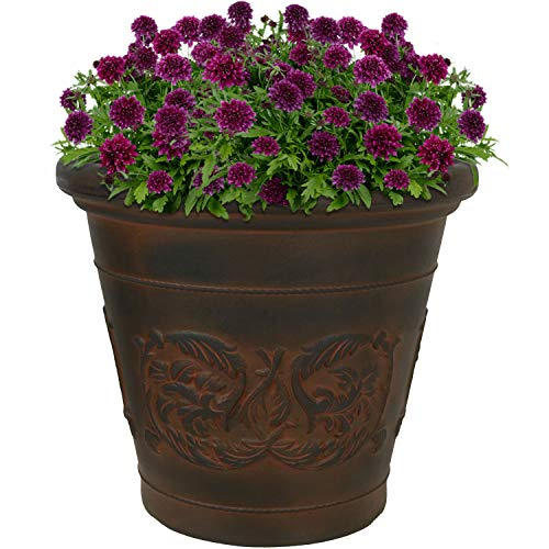 Sunnydaze Arabella Flower Pot Planter, Outdoor/Indoor Extra-Durable Double-Walled Polyresin with UV-Resistant Rust Finish, Single, 16-Inch Diameter