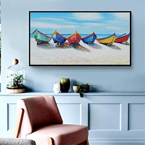 Olieverfschilderij op canvas handgeschilderd, abstract oceaan landschap, wondermooie blauwe oceaan beach boat landschap, hedendaagse grote handgeschilderd kunstwerk schilderij voor huis woonkamer slaap 130×260cm