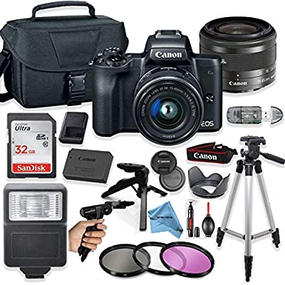 Canon EOS M50 Mirrorless Digital Camera (Black) with 15-45mm STM Lens + Deluxe Accessory Bundle + Inspire Digital Cloth by Inspire Digital - Canon Intl