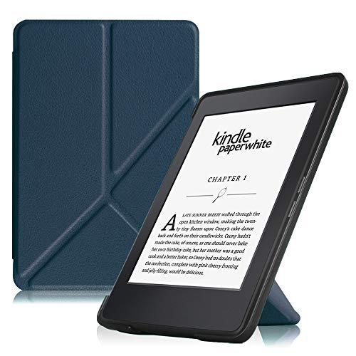 Fintie Origami Case for Kindle Paperwhite - Fits All Paperwhite Generations Prior to 2018 (Not Fit All-New Paperwhite 10th Gen), Navy