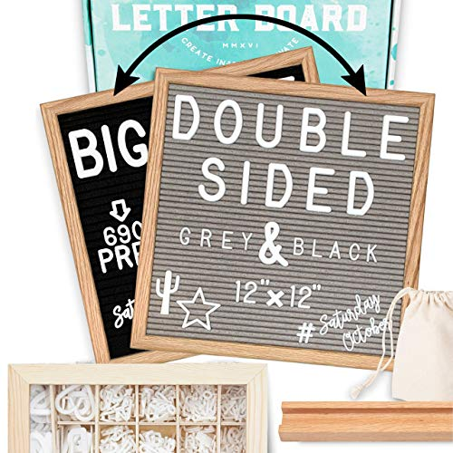 """Letter Board 12""""x12"""" Double Sided (Black & Gray) +690 Pre-Cut Letters +Cursive Words +Stand +UPGRADED WOODEN Sorting Tray 