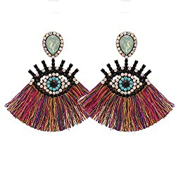 Colorful Geometric Fringed Multicolor Drop Earring With Rhinestones