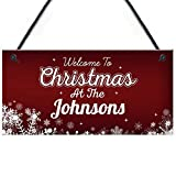 RED OCEAN PERSONALISED Unique Christmas Family Sign Hanging Welcome Plaque Home Gift Xmas