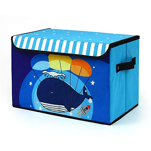 Opvouwbaar Storage Box met deksel, Oxford Doek Storage Box, opvouwbaar opslag manden for kleding, for speelgoed onder het bed, slaapkamer (38 * 25 * 25cm) (Color : Blue)