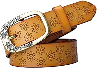 Supporter Equipment Women Waist Belt Women's Belt Leather Casual Belt Fine Decorative Simple Pin Buckle Belt Pure Leather Belt Suitable for All Seasons and Places (Color : Orange, Size : 115cm)