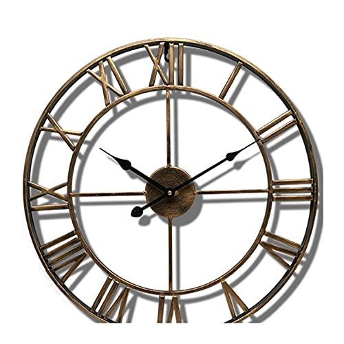 OMYLFQ Reloj de Pared, 40/47 cm Metal nórdico Número Romano Relojes de Pared Hierro Retro Cara Redonda Oro Negro Otoño Grande al Aire Libre Reloj de jardín Decoración del hogar