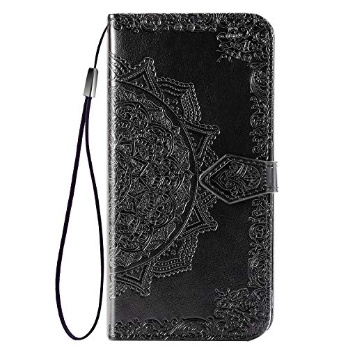 UILY Case Compatibel for Xiaomi Redmi Note 10 Pro Max, Ultra Thin Flip PU Leather Wallet Cover, Printing Mandala Pattern Bracket Function Shell. Black