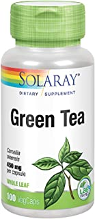 Solaray Green Tea Leaf 450 mg | Healthy Metabolism, Energy, Mood & Mind Support | Antioxidant Activity | 100 VegCaps
