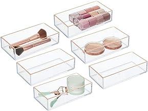 mDesign Makeup Organizer for Bathroom Drawers, Vanity, Countertop: Storage Bins for - Makeup Brushes, Eyeshadow Palettes, ...