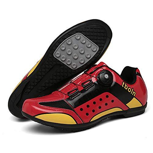 CHANGAN Zapatillas de Ciclismo para Carretera Plus, con Suela de y Sistema rotativo de precisión Suela Dura para Zapatos de Montar sin Bloqueo Red-42