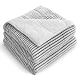 Uttermara Sherpa Fleece Weighted Blanket, 15lbs Fluffy Warm Sherpa Flannel Striped Ribbed Blanket for Sofa Bed Couch, Super Cozy Twin Bed Blanket with Soft Plush Flannel, 60 x 80 inches, Black