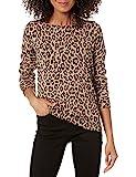 Amazon Essentials Lightweight Crewneck Sweater Sudadera, Camel Heather Animal Print, XL