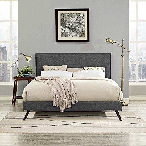 Modway Amaris Upholstered Queen Platform Bed Frame in Gray With Splayed Legs