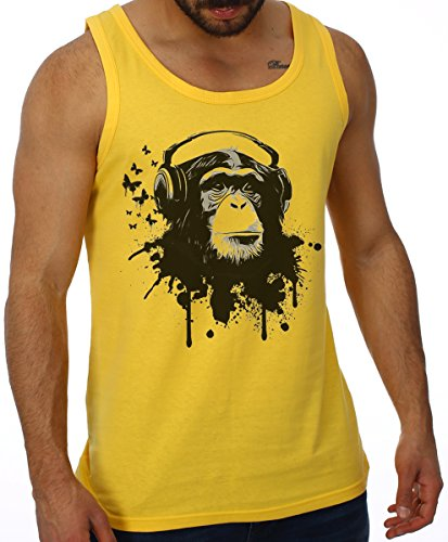 OM3® - DJ-APE - Tank Top Deejay Monkey Turntables Headphone Music Master MC Geek Fun, L, gelb