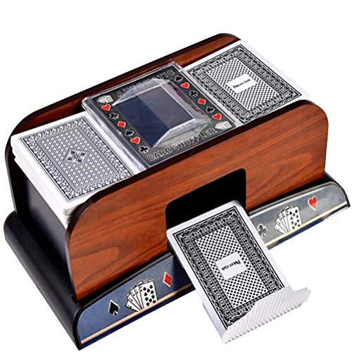 Asolym Poker Automatic Shuffling Machine aus Holz, Batteriebetriebene Spielkarte Shuffler Machine Ideal für Heimturniere, Klassische Handelsspiele, Blackjack