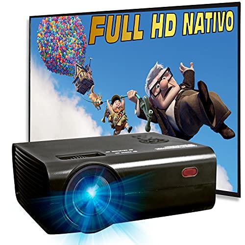 Proyector 1080p Nativo, Silencioso, 6.000 Lúmenes,Contraste 10.000:1,Fullhd Nativo, Cine en Casa 100', USB Multimedia, Portatil 12V valido para Caravana, Preparado para PS5, Xbox Series